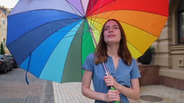 Thumbnail for Woman with Colorfull Umbrella at the City Center