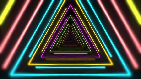 Thumbnail for Motion colorful neon triangles, abstract background