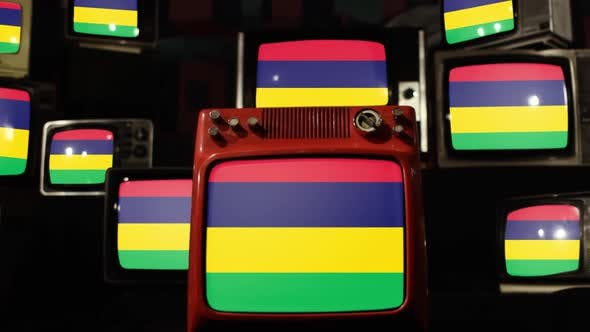 Thumbnail for The flag of Mauritius and Retro TVs.
