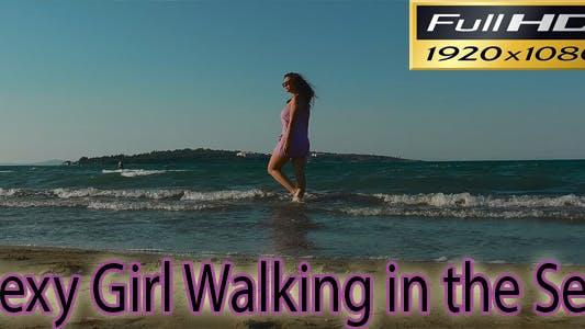Thumbnail for Sexy Girl Walking in the Sea FULL HD