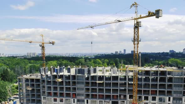 Thumbnail for Large Construction Site with Busy Cranes Time Lapse. Tower Crane Working on a Construction Site