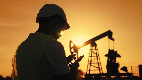 Silhouette Working Engineer Oil Rig
