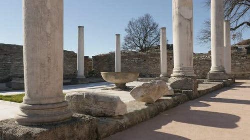 GAMZIGRAD, SERBIA - DECEMBER 25, 2017 High columns and  fountain  inside imperial palace of Felix Ro