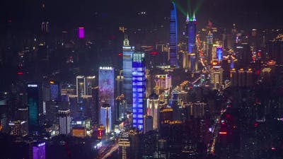 Timelapse Flashing Shenzhen Skyscrapers in Luohu District