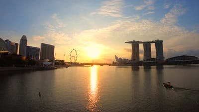 time lapse of Singapore city skyline of Marina Bay