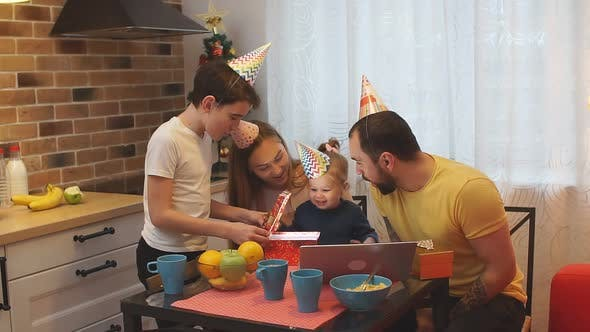 Happy Family Concept. Smiling Happy Birthday of Little Baby Girl, Daughter