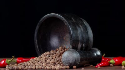 Black Pepper with Red Chili Pepper.