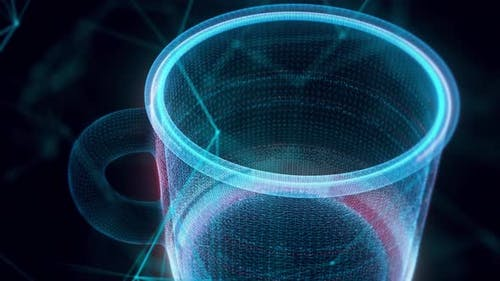 Stainless Steel Metal Cup Hologram Close Up 4k