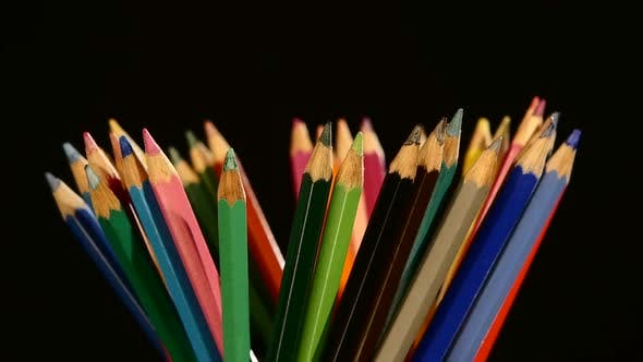Thumbnail for Colour Pencils Isolated on Black, Rotation