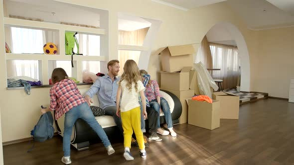 Family and Cardboard Boxes