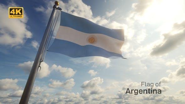 Thumbnail for Argentina Flag on a Flagpole - 4K