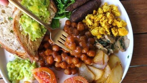 Top View of Traditional English Breakfast in a Vegan Option
