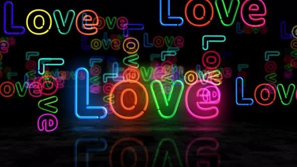 Liebe Symbol glühende Neon 3D Lichter