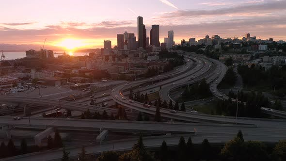 Thumbnail for Rising Aerial Of Golden Hour Sunset On Downtown Cityscape In Pacific Northwest