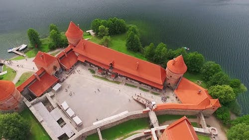 Aerial View Trakai Medieval Castle In Lithuania