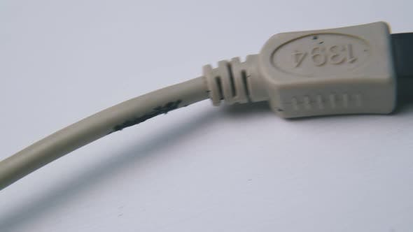 Cable with Plugs for Switching Devices on White Background