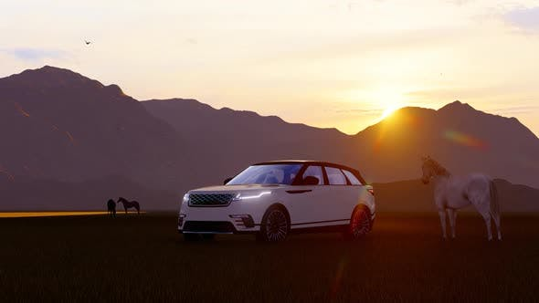 Thumbnail for Horses and White Luxury Off-Road Vehicle in Mountainous Area with Sunset View