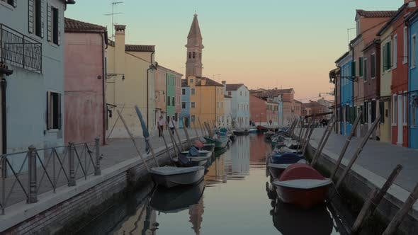 Thumbnail for Evening Scene of Burano Island in Italy
