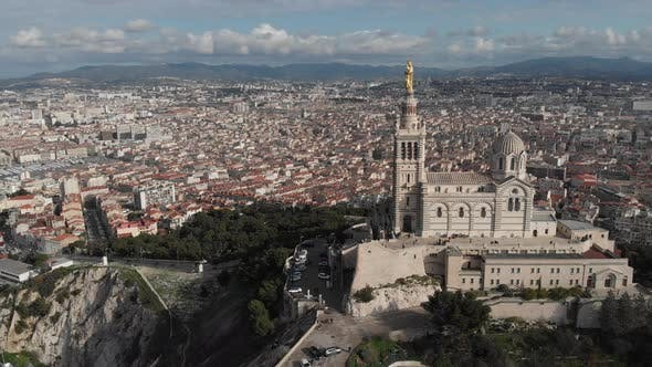 Thumbnail for Aerial view of the basilica Notre Dame de la Garde in Marseille. France 2020