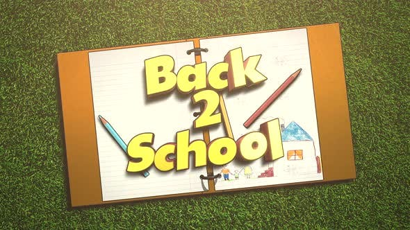 Animated closeup text Back to School and closeup of kids background with notebook and pencil