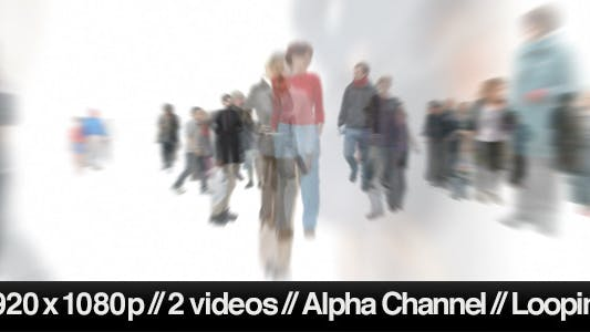 Thumbnail for Isolated Crowd Of People Walking Towards w/ Alpha