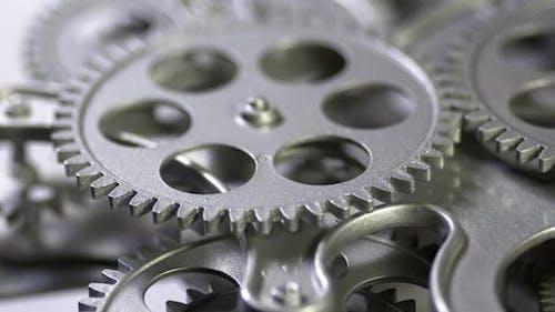 Mechanical Grey Gears Rotation Motion
