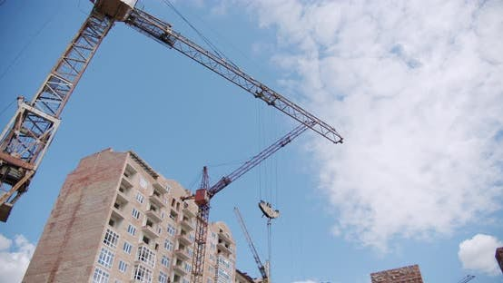Thumbnail for Crane at Building Construction Site, Architecture Apartments. Wide Shot V5