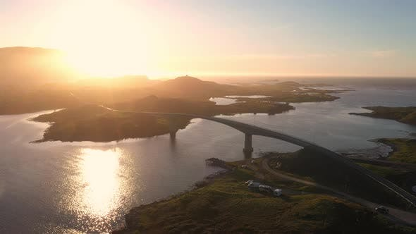 Thumbnail for Flight over Fredvang bridge in the beautiful sunny evening, Lofoten Islands, Norway