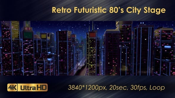 Retro Futuristic 80's City Stage