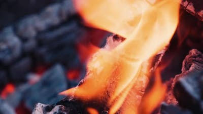 Wood burning with ash. Close-up shot of wood and charcoal with slight orange flame. Slow motion.