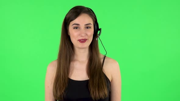 Thumbnail for Young Girl Talking on Headphones, Call Center