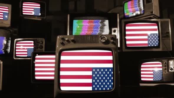 Thumbnail for Upside Down USA Flags and Vintage Televisions.