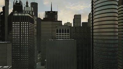 Sunrise over a futuristic city