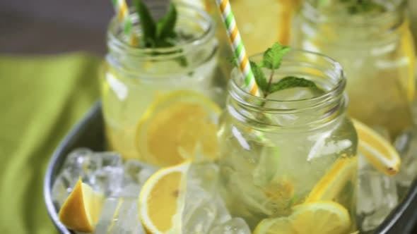 Thumbnail for Beverage tray with with iced tea with citrus.