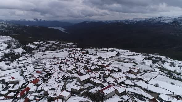 Thumbnail for Aerial View Of Mountain Town In Portugal Winter Time