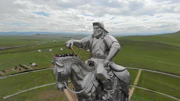 Equestrian Statue of Great Warrior Genghis Khan in Ulaanbaatar Mongolia From Aerial