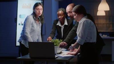 Teamwork Planning Management Presentation on Laptop Computer