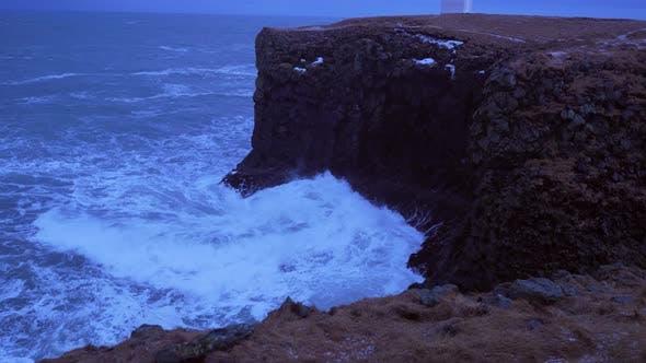 Thumbnail for Iceland Rough Ocean Water Crashes Against Large Cliffs In Arnarstapi 3