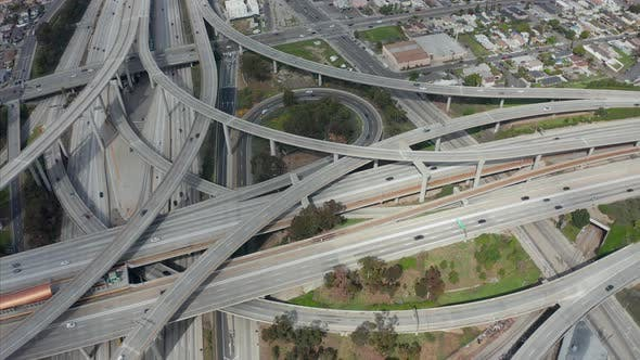 Thumbnail for AERIAL: Judge Pregerson Huge Highway Connection Showing Multiple Roads, Bridges, Viaducts with