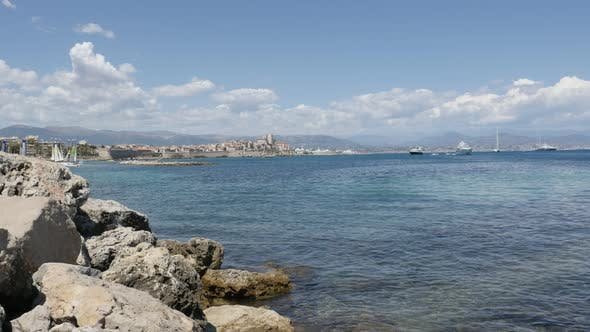 ANTIBES, FRANCE - JULY 2017   French Provence by the day with famous  fortified city