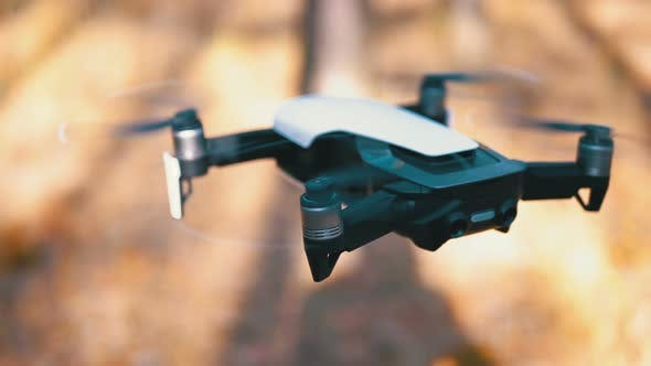 Cover Image for Drone with a Camera Hovers in the Air. Flies Above the Ground in the Forest. Slow Motion