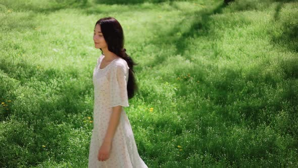 Thumbnail for Young Girl Walking on Nature