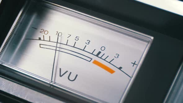 Analog Signal Indicator with Arrow. Meter of the Audio Signal in Decibels.