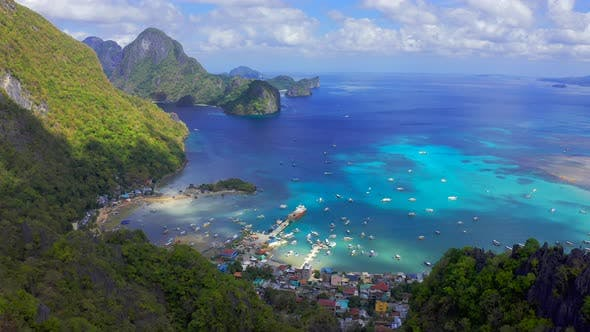 Thumbnail for View From the Observation Deck at Taraw Cliff Over Central El Nido Town To the Boat Crowded Port and