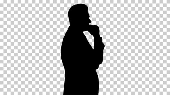Thumbnail for Silhouette Senior white businessman looking and checking