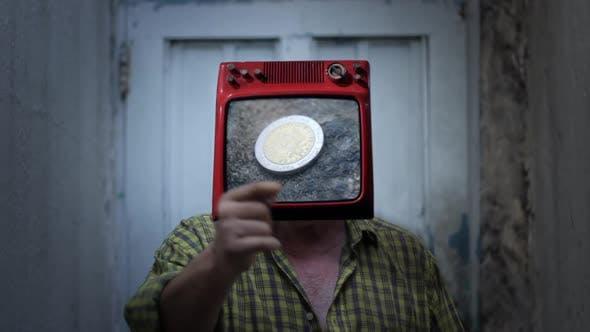 Thumbnail for Mr. Coin TV-Mann. Geldsucht-Konzept.