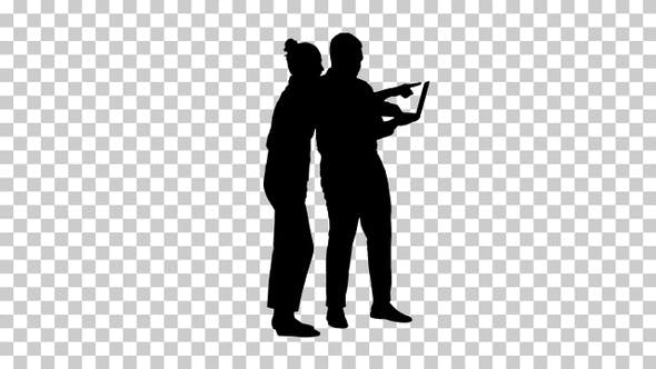 Thumbnail for Silhouette Afro american business adviser showing something