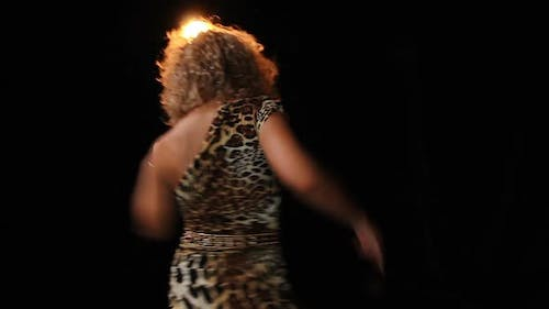 Curly-Haired Lady Moving Actively to Pop Music in The Night Club, Performance