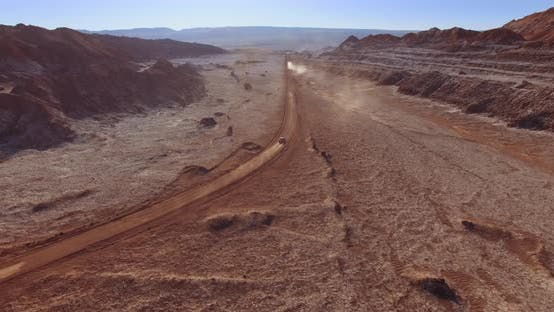 Thumbnail for The Lone Car Drive the Atacama Desert in Popular Terrain of Moon Valley, Chile