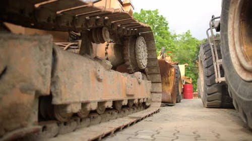 Heavy Duty Construction Equipment on a Lot.